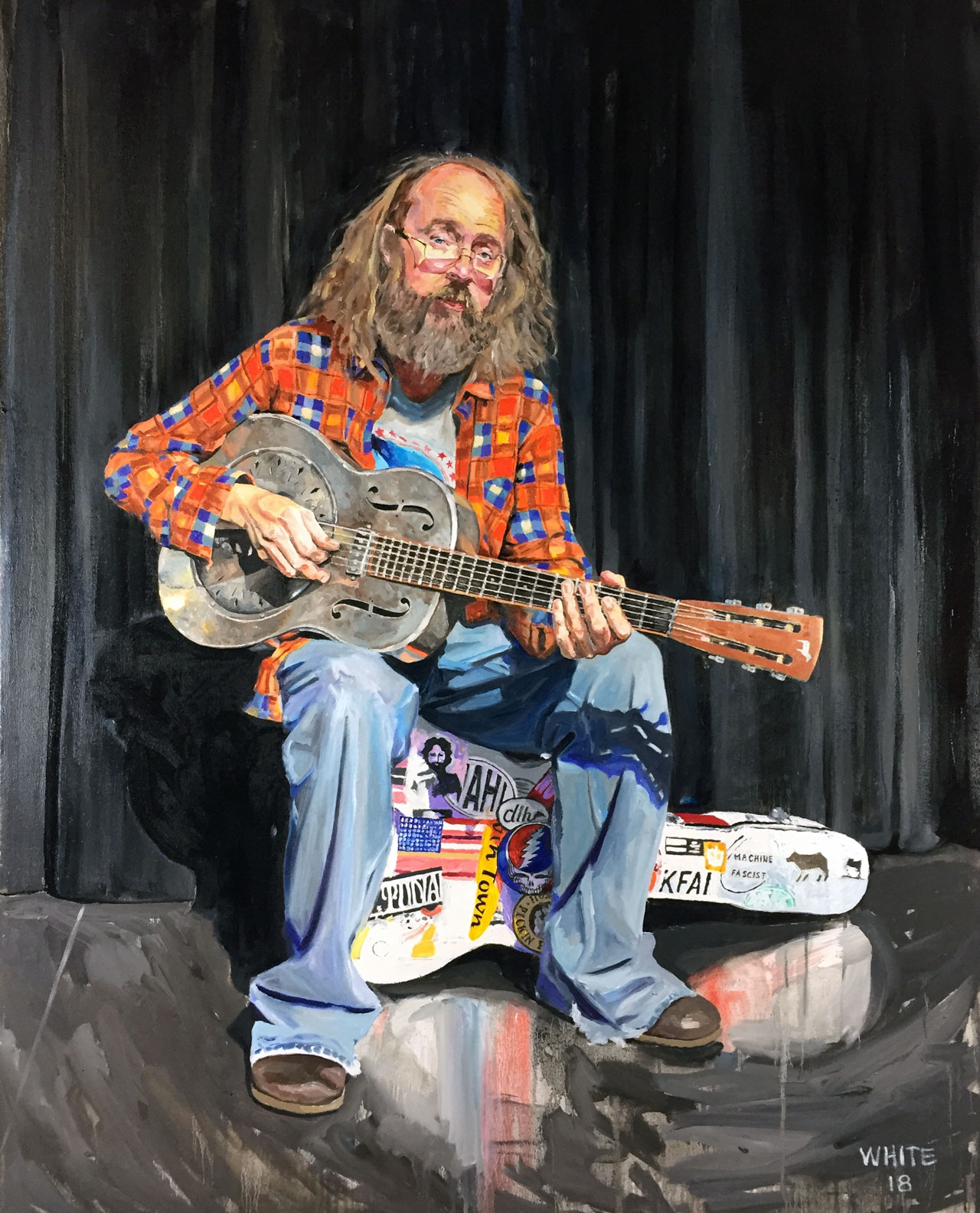 Reed White Mankato artist portrait painting of Charlie Parr